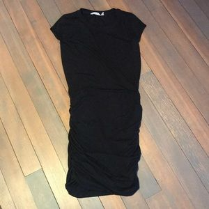 Athleta black cotton ruched pencil dress